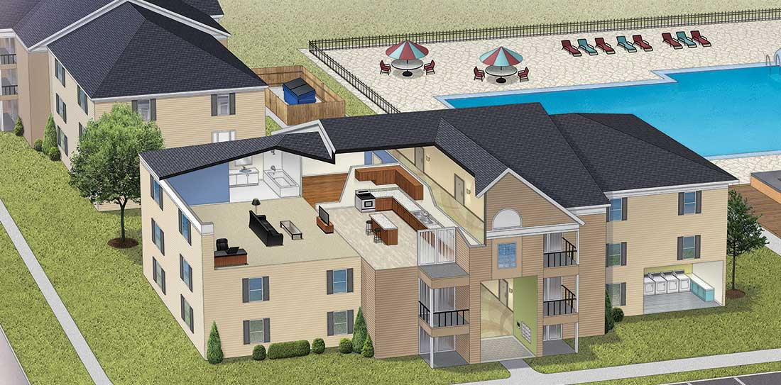 cutaway illustration of a multifamily structure showing different coatings needs for different areas