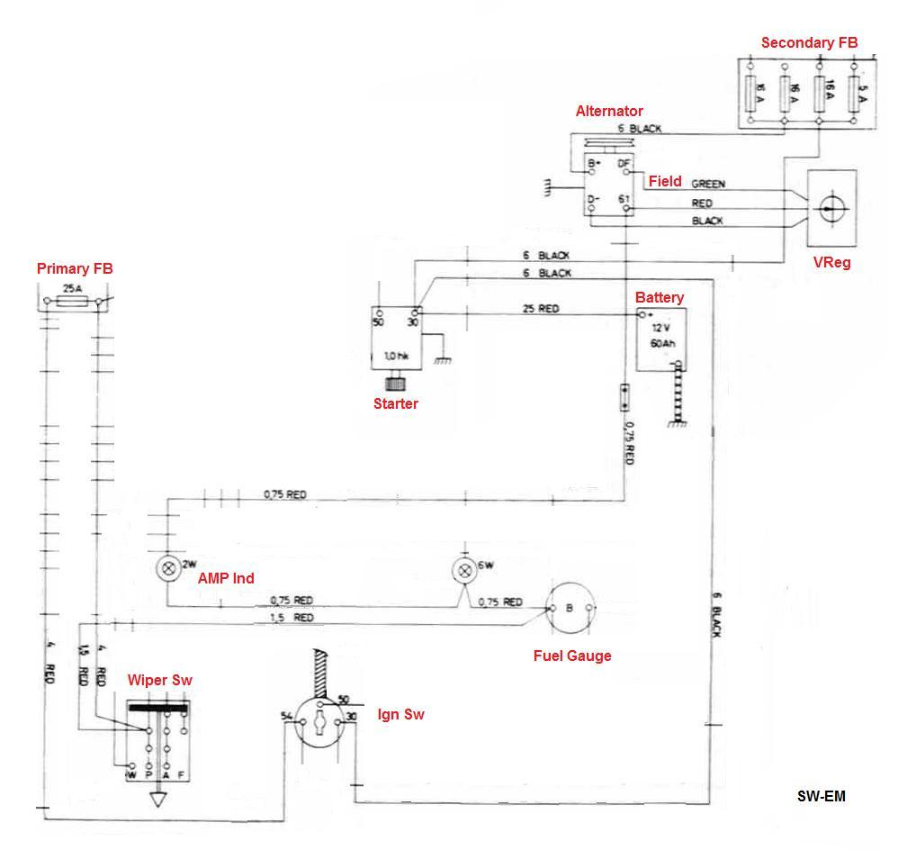 hight resolution of 123gt wiring diagram excerpt with alternator based charging system relevant components and connections shown amp indicator and charging system initial