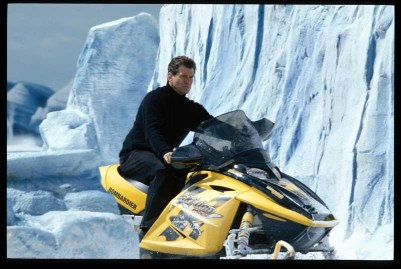 Bond (PIERCE BROSNAN) riding the Ski-doo