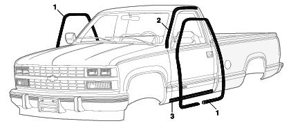 Gummiliste øvr. ved dør Chevrolet C/K Pick-up 1988 til