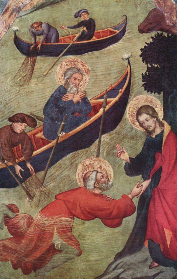 Lluís Borrassà, Petrusaltar: Jesus stützt Petrus auf dem Wasser (1411)