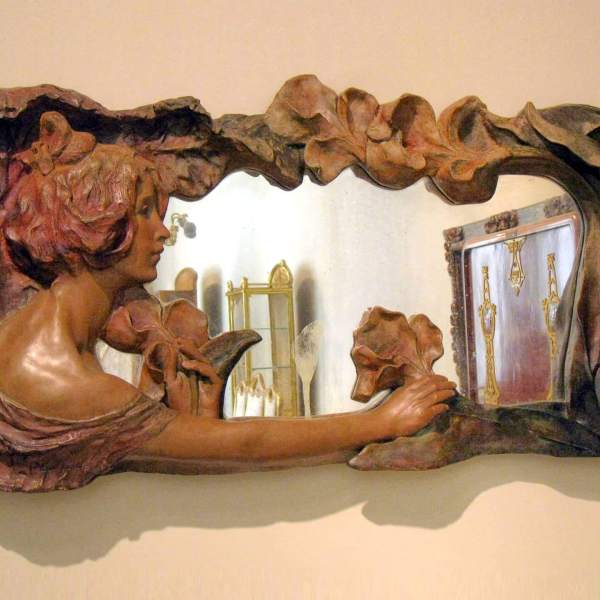 Pablo Gargallo, Mirror frame with girl and lilies