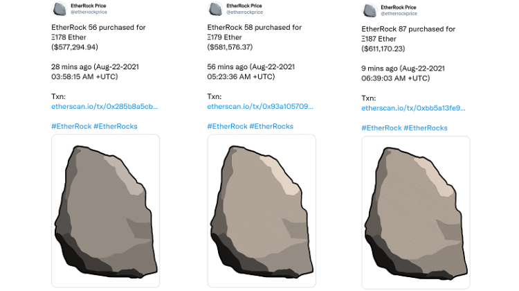 Three Tweets related to EtherRock sales
