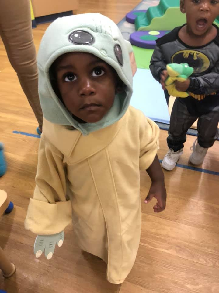 A CHILD Center student wearing a Halloween costume
