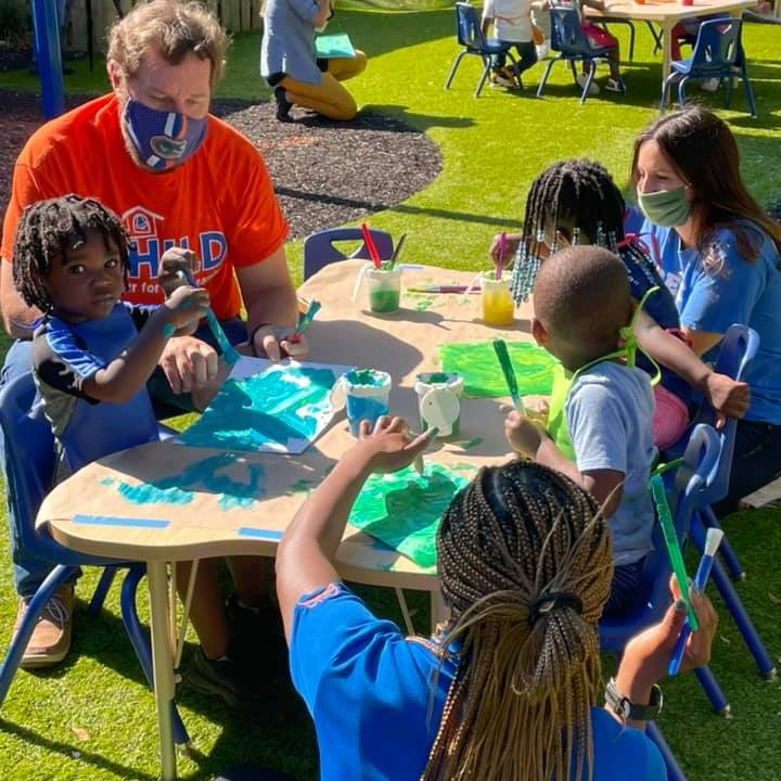 Partners from UF's Anita Zucker Center visited the CHILD Center in April 2021 to paint with our kiddos