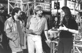 "Producer James Cameron confers with director Kathryn Bigelow on the set of 1995's ""Strange Days,"" an ambitious cyberpunk flop."