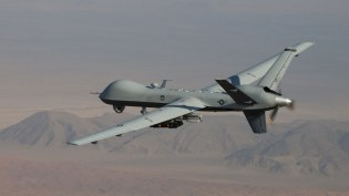 A Reaper unmanned aerial vehicle in flight.