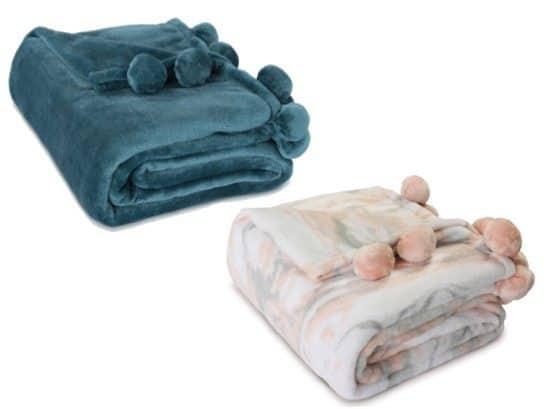 Cozy Plush Fleece Pompom Throw...