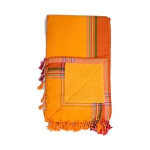 Soak up some sun with the Orange Kenyan Beach Towel! Our fair trade Kenyan Beach Towels are ethically crafted in Nairobi, Kenya. We back lightweight and absorbent hand-loomed cotton kikoy cloth with quick-dry microfiber terry for extra absorption. The hidden velcro pocket in the interior is perfect for storing your keys or phone!