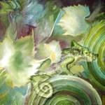 """Chameleon"", acrylic painting , small."