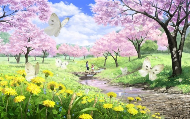 Pastel Aesthetic Anime Cherry Blossom Anime Scenery 1080x608 Wallpaper Teahub Io