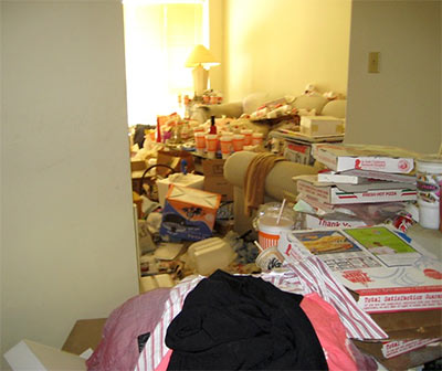 Interior of Extremely Messy Apartment in North Houston