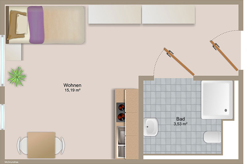 1-Zimmer Apartment ab 19m² | Grundriss - Swan35