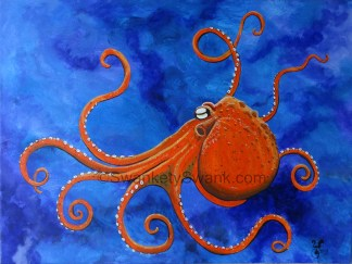 SOLD Orange Octopus 16x20""