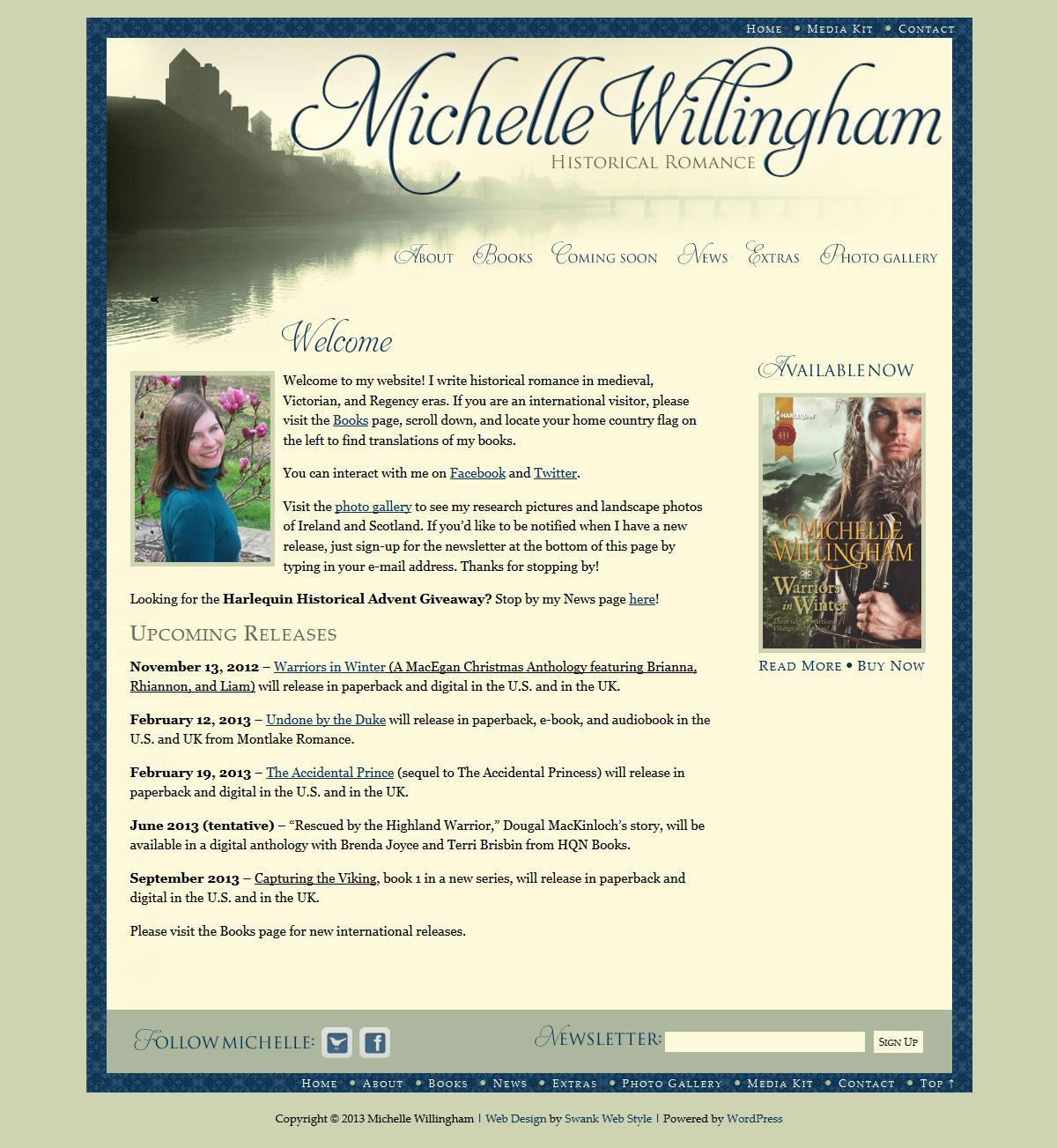 Website Design for Author Michelle Willingham  Swank Web
