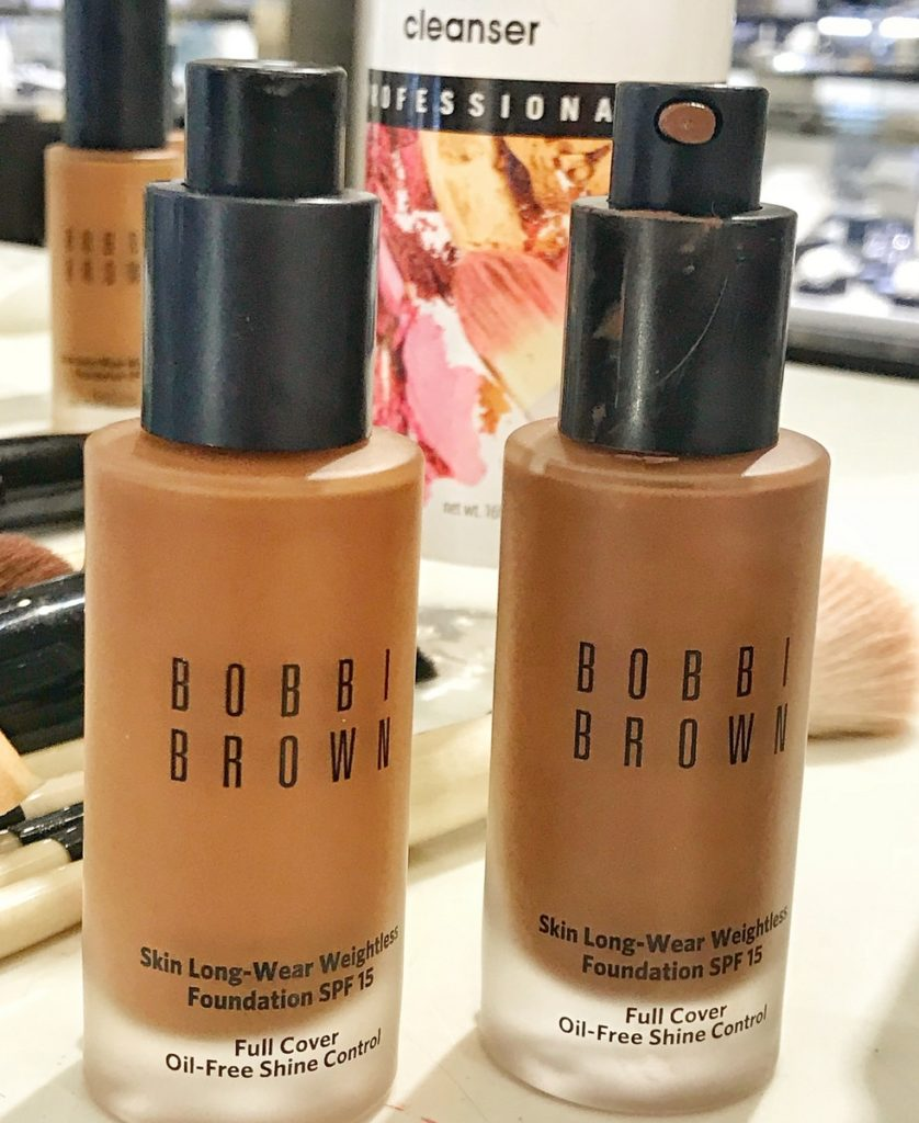 Two different shades of the Bobbi Brown Skin Long-Wear Weightless Foundation