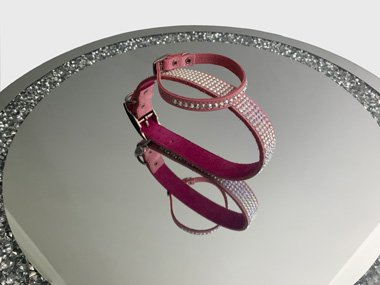 Luxury leather dog collars with Swarovski crystals covering the entire surface. The extra small and extra large