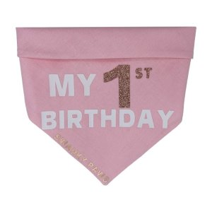 "Super cute pink bandana made for a dogs first birthday with the text ""My 1st Birthday"". The vinyl is done in white and the 1st is done in a glitter"