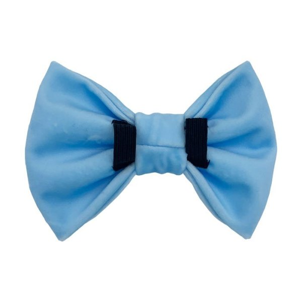 Back side of the light blue dog bow tie showing 2 elastic loops to pull the collar through