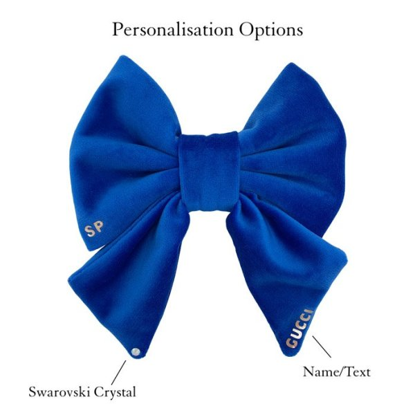 Royal Blue sailor dog bow tie customised. Lucky dogs get to show off this personalised sailor with name and Swarovski crystal added