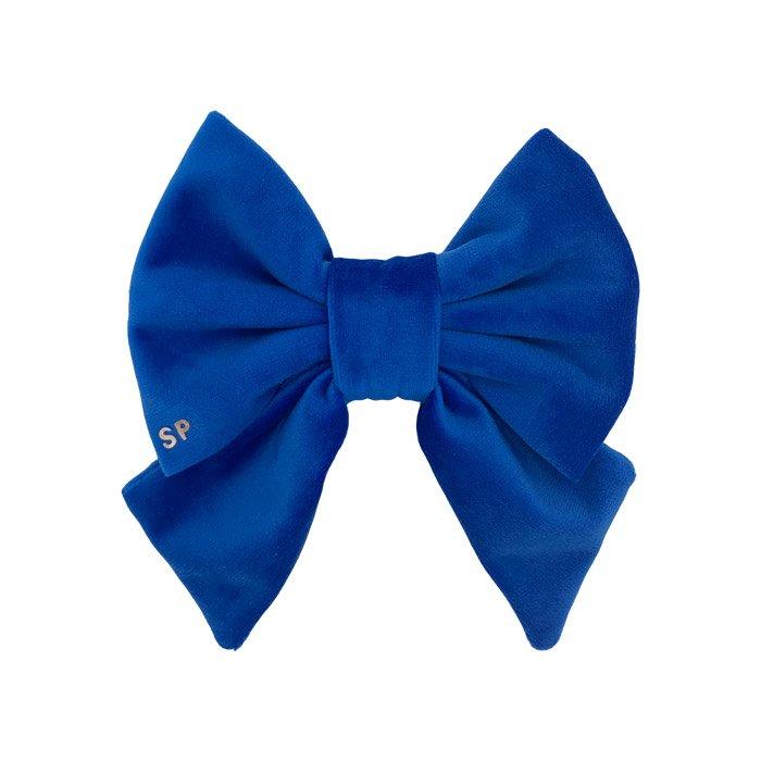 Front side royal blue sailor dog bow tie. Designer velvet to show off on the dogs collar