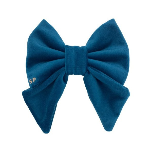 Teal dog sailor bow tie. Luxury velvet used in this designer sailor bow. soft