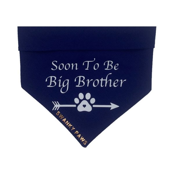 Soon to be big brother dog bandana with a navy cotton fabric and white vinyl on top. The design also has a paw print with arrow through it at the bottom