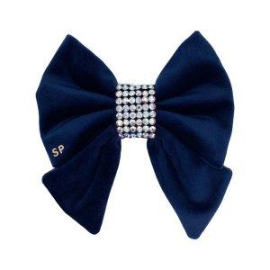 Navy blue wedding dog sailor bow tie. Featuring a swarovski centre on soft navy blue velvet