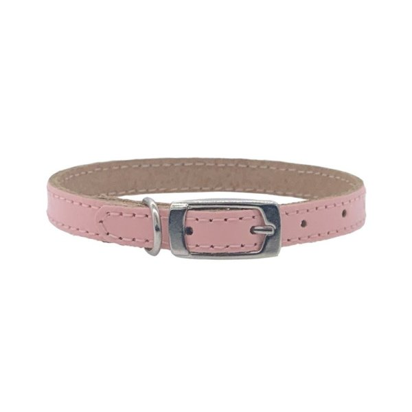 Designer pink leather dog collar that's tiny and made for puppies. It's a pale pink or baby pink colour