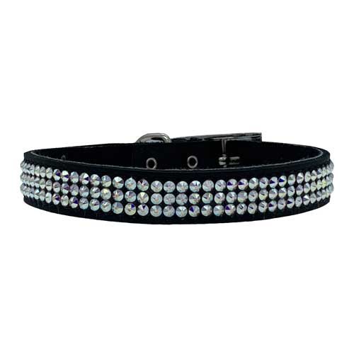 Black Swarovski Dog Collar for weddings and special occasions. The black leather collar is completely covered in crystals