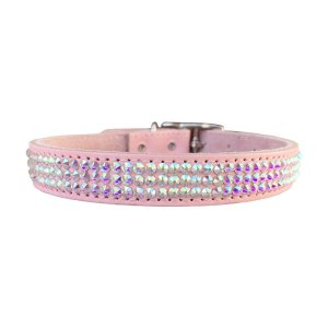 Bling pink dog collar for weddings shows it's completely covered in shiny Swarovski Crystals