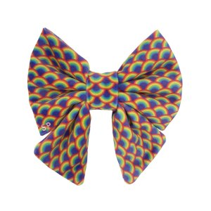 Dog saikor bow tie with all the colours of the rainbow all across it in trippy print
