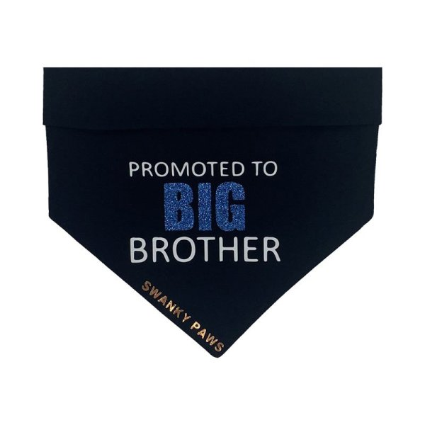 """Dog bandana for pregnancy announcement with """"Promoted to big brother"""" in vinyl on the black dog bandana"""