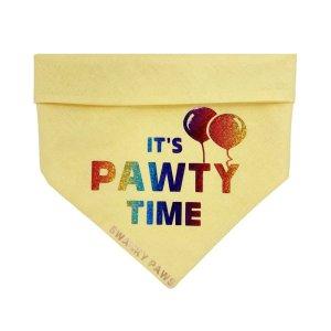 "Birthday dog bandana with rainbow vinyl ""It's Pawty Time"" on yellow cotton fabric"