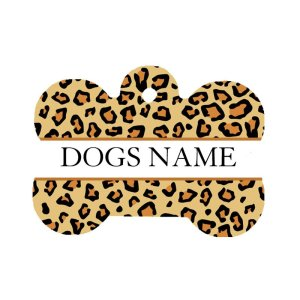 Leopard print dog pet id tag front side can be personalised with the dogs name