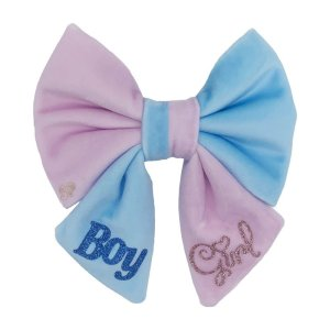 """Pink and blue dog sailor bow made to announce pregnancy to the family and friends. The sailor bow has """"Boy"""" and """"Girl"""" done in glittery vinyl so it doesn't give away the gender of the baby"""