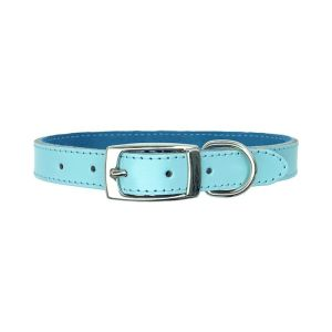 beautiful light blue leather dog collar with a soft suede lining. Super comfortable and great for walks and everyday use