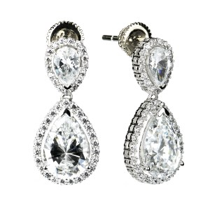 Dangling Pear Halo(Tear Drop) Earrings (14K + Cubic Zirconia)