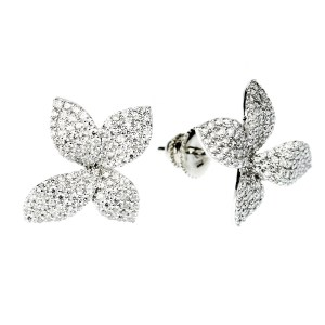 Floral Fashion Stud Earrings (14K + Cubic Zirconia)