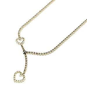 4 Prong Tie Style Fashion Tennis Necklace with Heart Shape Designs