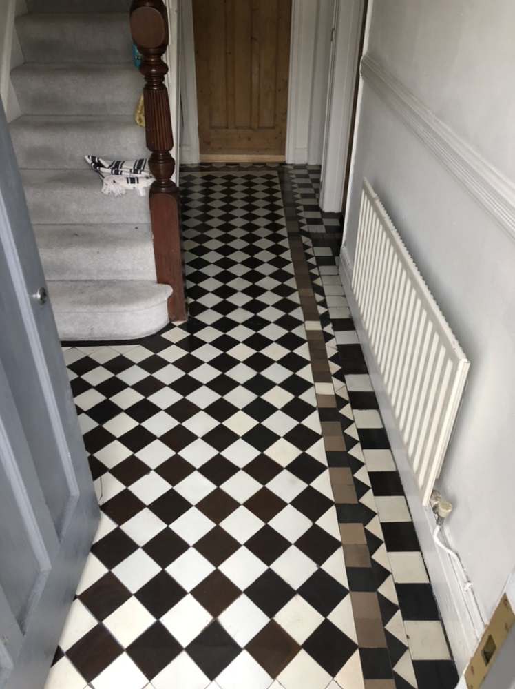 Victorian Tiled Floor After Cleaning Llanelli