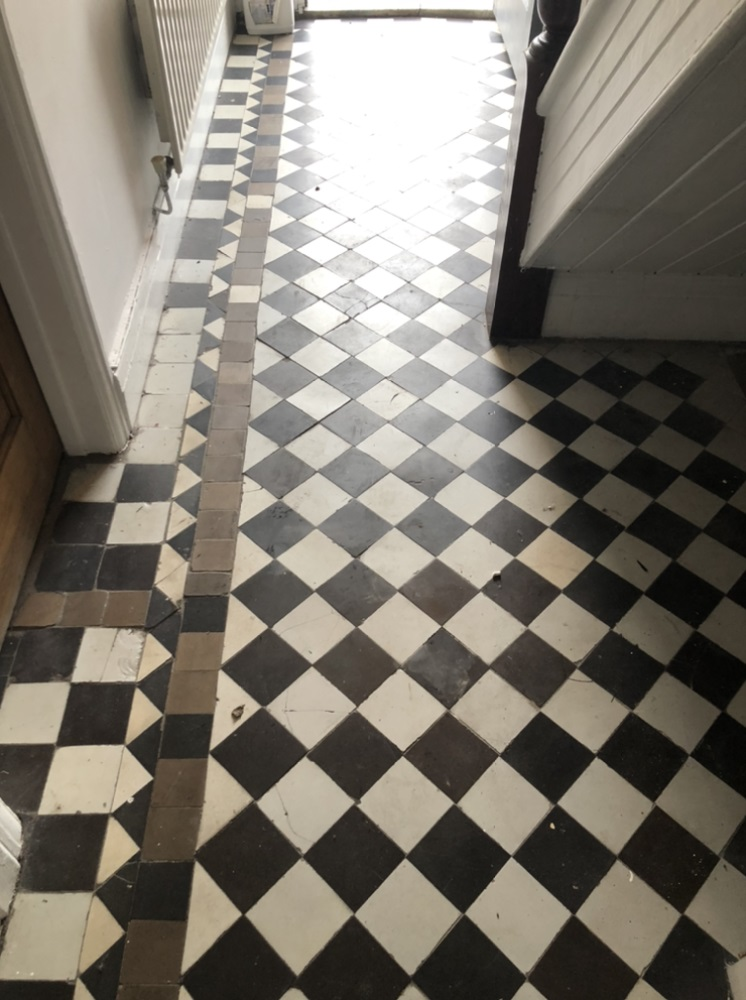 Victorian Tiled Floor Before Cleaning Llanelli
