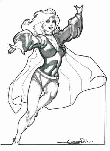 Supergirl, pencils and inks by comics artist Aaron Lopresti