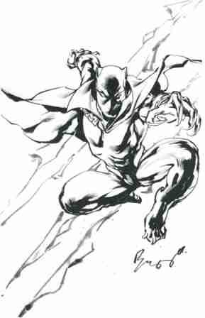 The Black Panther, pencils and inks by comics artist Buzz (Aldrin Aw)