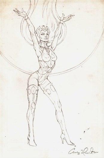 Storm, preliminary pencil sketch by comics artist Craig Hamilton