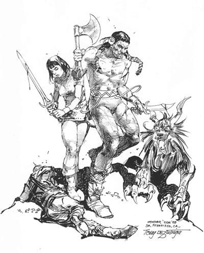Arak, Son of Thunder and Valda the Iron Maiden, pencils and inks by Tony DeZuniga