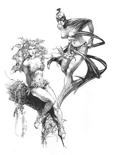 Poison Ivy and Black Orchid, pencils by comics artist Tony DeZuniga