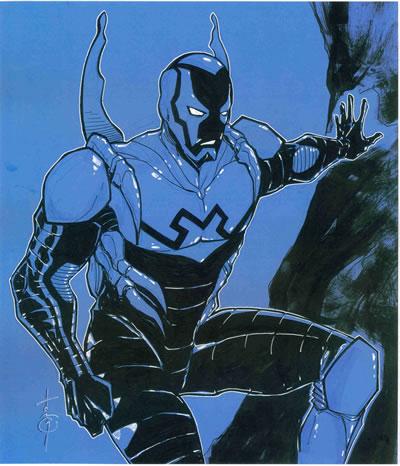Blue Beetle III (Jaime Reyes), pencils and inks by comics artist Thomas Hodges