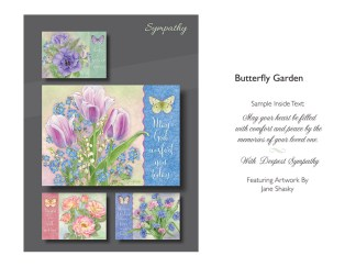 BOXED CARDS SYMPATHY BUTTERFLY GARDEN