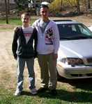 Gary Jr and PJ in fornt of his new Volvo
